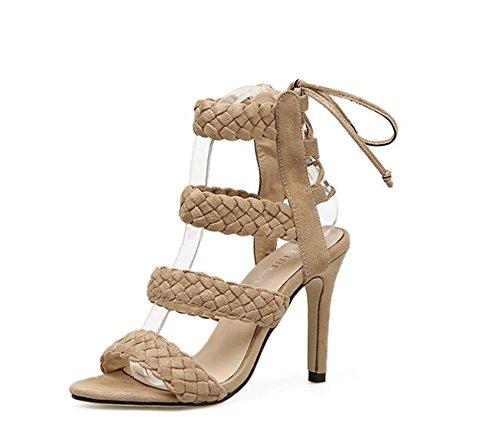 Queena Wheeler Women Shoe Ankle High Pump Heel Sandals Women Heel Pump Dress Sandals apricot