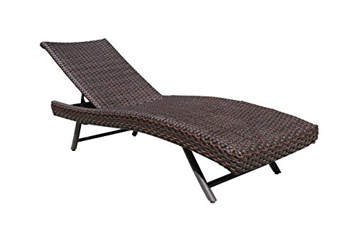 Outdoor Adjustable Pool Rattan Chaise Lounge Chair Super Patio Wicker Furnituire, Steel Frame ,Espresso Brown PE Wicker