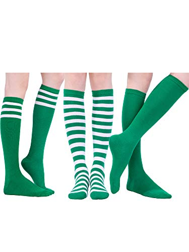 Tatuo 3 Pairs Long Striped Socks Knee High Stocking for St. Patrick's Day Irish Cosplay Party Costumes (Color Set 3)