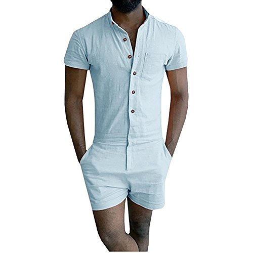 Boyfriend Shorts Mens Short Sleeve Jumpsuit Casual Short Cargo Pants Rompers Slim Fit Party Overalls (Small, Sky blue)