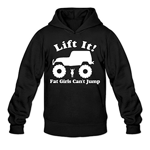 Funny Fat Girls Can't Lift Jeep Classic Men's Hooded Sweatshirts Black (Fat Halloween Meme)