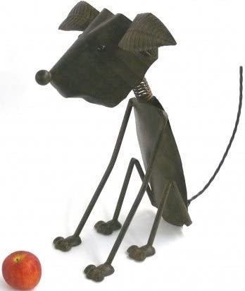 Bronze Metal Nodding Dog sitting Ideal Garden Ornament with spring tail Suitable for indoor or outdoor