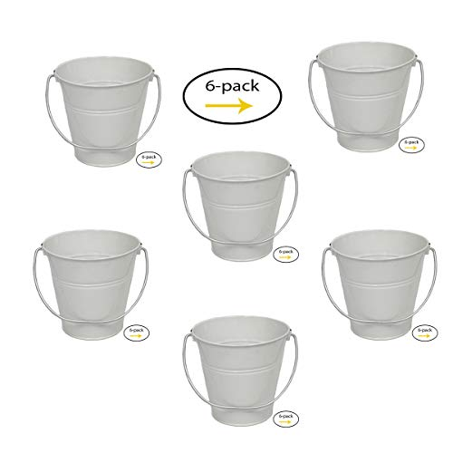 6 pack Metal Bucket, White Metal Bucket 5'' H x 6'' click and pick color and size. by ITALIA