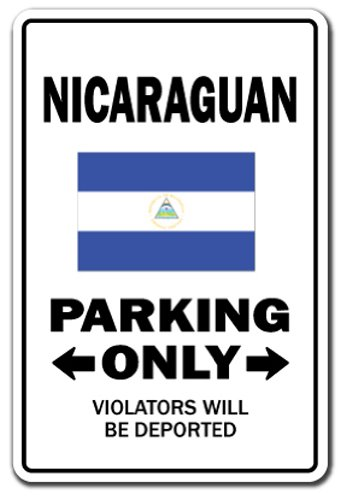 SignMission Nicaraguan Parking Decal | Indoor/Outdoor | Funny Home Décor for Garages, Living Rooms, Bedroom, Offices Gag Novelty Gift Funny Nicaragua Central America Map Decal Wall Plaque Decoration (Maps Central)