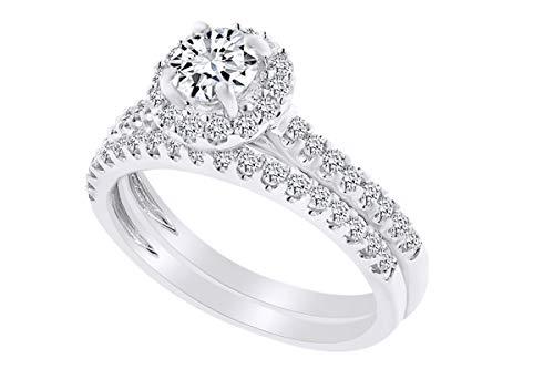 - 0.60 Carat Round Shape White Natural Diamond Semi Mount Halo Wedding Ring Set 18K Solid White Gold Ring Size-7