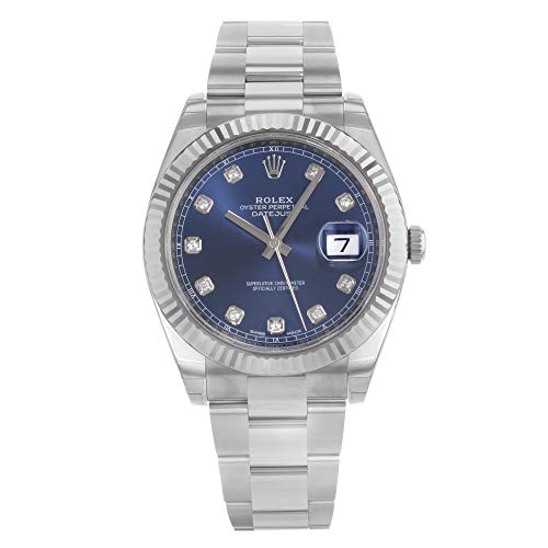 ROLEX DATEJUST 41 STEEL AND WHITE GOLD BLUE DIAMOND DIAL OYSTER BRACELET 41MM