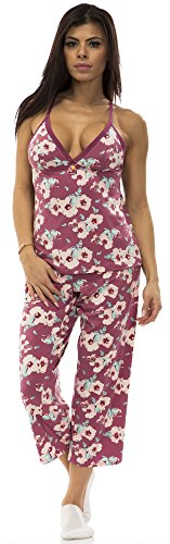 Simpsons Lounge Pants - Jessica Simpson 6816JS Womens Cami and Capri Pajama Lounge Set Size: Medium in Orchid (601)
