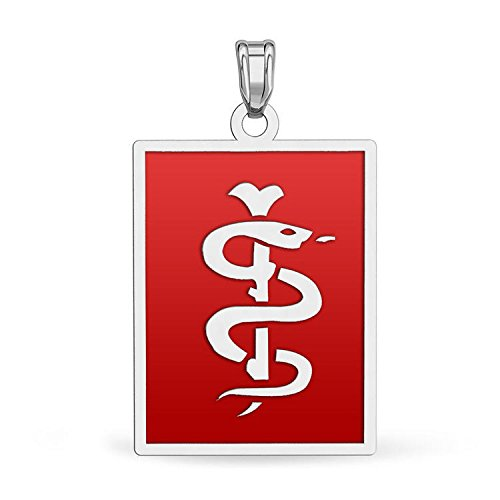 14K White Gold Rectangle Medical Pendant W/ Red Enamel - 1 Inch X 1-1/4 (Rectangle White Gold Pendant)