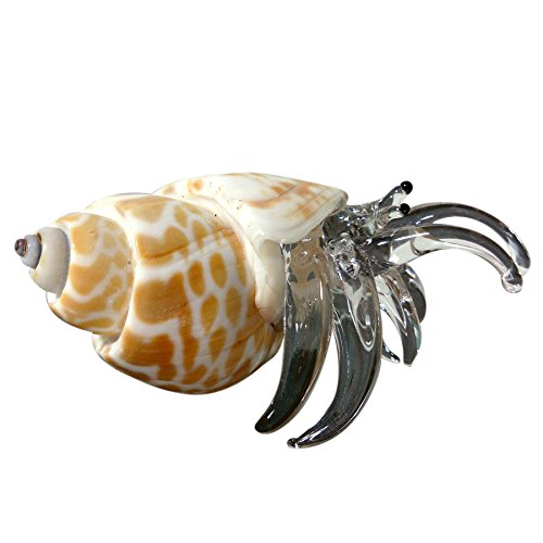 Sansukjai Seashell Hermit Crab Figurines Beach Animals Hand Blown Glass Art Natural Collectible Gift Decorate#10