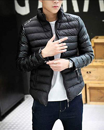 Stand Collar Comfortable Schwarz Quilted Jacket Transition Men's Lightweight Blended Outerwear Leisure Cotton Battercake Slim Down Coat waSXq1H