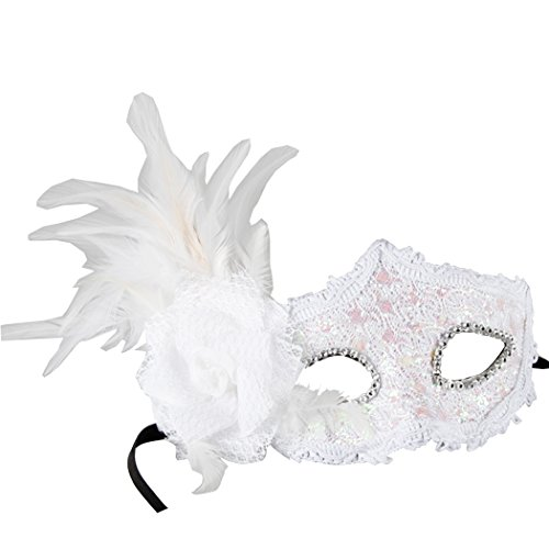 Masquerade Prom Costume Ball Party Face Mask With Peacock Feather & Rhinestone (Face Peacock Mask)