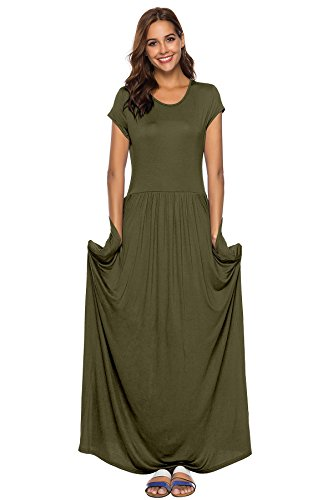 Short Long Maxi with Pockets Sleeve Army Dresses Casual Green Amoin Women's Plain Dresses Loose 5q18wUwF