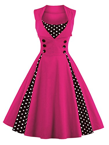 Women's Cocktail Dot Rockabilly Dress Party Vintage up Swing Rose Red Pin Polka LunaJany SxUpqdTwS