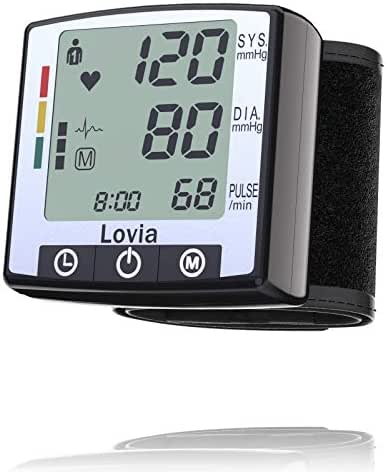 Automatic Wrist Blood Pressure Monitor Watch - Lovia Digital Home Blood Pressure Meter - Manual Blood Pressure Cuff - Clinically Accurate & Fast Reading , 2x120- Reading Memory,Large LCD Display,Black