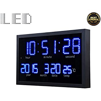 Amazoncom Slim Large Metal Glass Digital Clock Jumbo Display
