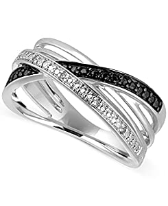 Diamond Addiction Sterling Silver .03 CTW Black and White Diamond Criss Cross Ring, Size 7