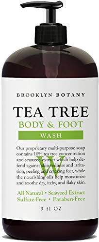 Brooklyn Botany - Antifungal Tea Tree Oil Body Wash - Extra Strength, Helps Cracking Feet, Skin Blemishes & Irritations, Body Odor - Soothes Itching & Promotes Healthy Feet, Cuticles and Nails - 9 oz ()