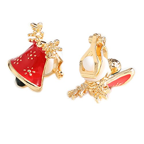 Bell Clip Earrings - Christmas Bell Soft Mat Back Clip on Earring Clips for non Pierced Enamel for Girl Red