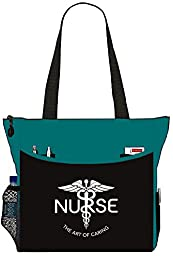 Nurse The Art Of Caring Caduceus Tote Bag Office School Travel Business Personal Organizer - Black & Teal