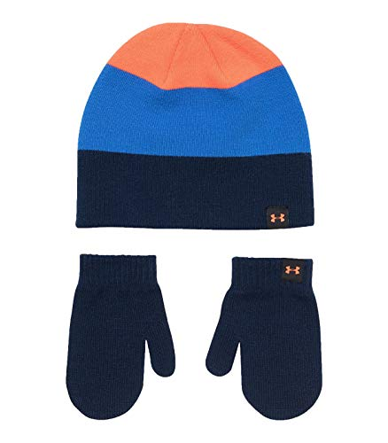 Under Armour Boys` Knit Beanie Mitten Combo (Academy(5032536-003)/Powderkeg Blue, 1-6 Years(One Size Fits All)) (Kids Armour Hat Under)
