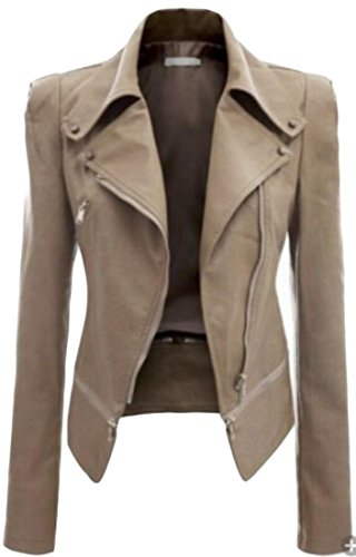 Closure Women's Coat M Leather Zipper Lapel amp;S amp;W Slim 2 Jackets xn8ZwqnX4