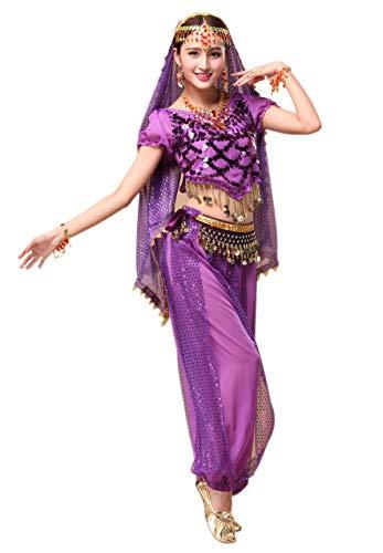 Maylong Women's Silver Shell Decoration Top Lantern Pants Belly Dance Workout (3 Pieces, Purple) -