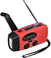 ocamo multifunción Portable Mini Mano Manivela de emergencia Self Powered de radio AM/FM Weather Radio solar con linterna LED, Rojo