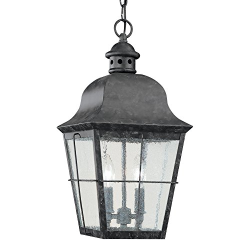 Sea Gull Lighting 6062-46 Chatham Two-Light Outdoor Pendant with Clear Seeded Glass Panels, Oxidized Bronze (2 Light Fluorescent Outdoor Pendant)