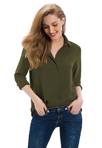 Tsher Women's Long Sleeve Shirt Loose Casual Button Professional Blouse 5005 (Army Green, M)