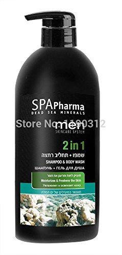 SPA Pharma Dead Sea Minerals Shampoo and Body Wash For Men Moisturizes 1000ml by Spa Pharma