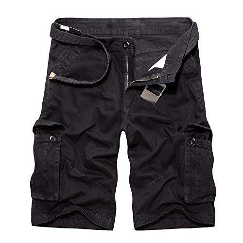 Negro Verano Mode Cortos Marca Carga Pantalones Casuales Algodón Color Humanos Playa Liso Hombres De 1Tqw6FO