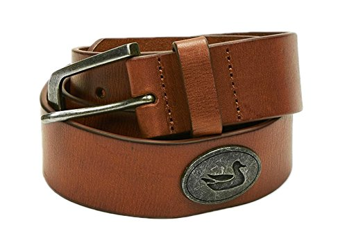Southern Marsh Heritage Medallion Leather Belt in Stone Brown with Gunmetal-Waist 30