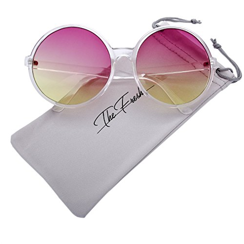 The Fresh Retro Chunky Frame Ocean Colored Lens Oversized Round Sunglasses (1-Crystal, Purple-Yellow)