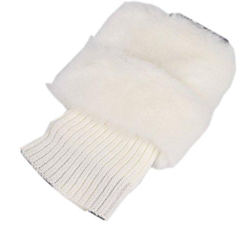 AnVei-Nao Womens Girls Winter Furry Boot Topper Cuff Knit Crochet Leg Warmer White -