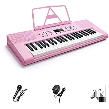 Piano Keyboard, Premium 49-Key Electronic Keyboard Piano Portable, Electric Digital Piano with LCD Display Screen, Adapter & Battery Power Supply, Pink, ...