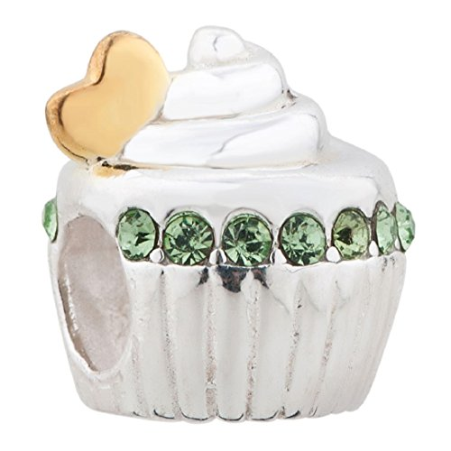 Happy Birthday Cake 925 Sterling Silver Birthstone Bead Fits European Charms (Pale Green August Birthstone) Birthday Cake Charm