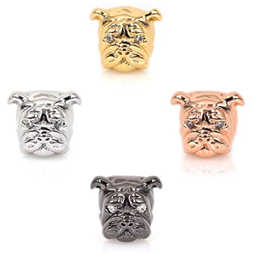 SouthBeat Micro Pave CZ Bulldog Beads Dog Head Bead for Men Charm Bracelet Spacer Beads Jewelry DIY Accessories 13x11mm 10Pcs -