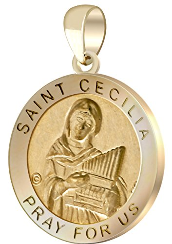 US Jewels And Gems New 3/4in Round Hollow 14k Yellow Gold St Saint Cecilia -