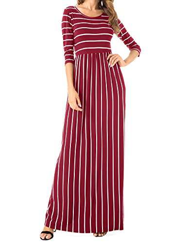 Levaca Manches Longues Femmes Poches Plissées De Vin En Vrac Longue Robe Maxi Occasionnel 17