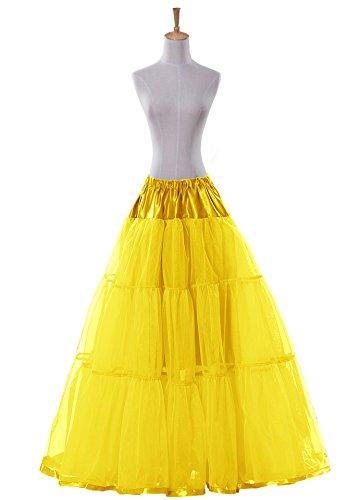 Bridal _ Mall Wedding Bridal suelo largo Petticoat maduro Rock enagua Fancy 50s Vintage vestido amarillo