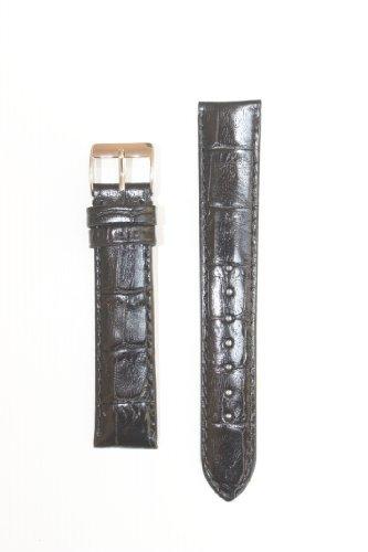 18 mm Long Black Polished Alligator Grainレザーバンドwithヌバック裏地  B005407WL6