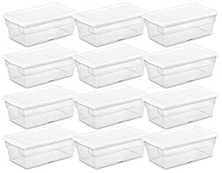 Sterilite 16428012 6-Quart Storage Box, White Lid with See-Through Base, 12-Pack (B002BDTETW) | Amazon Products