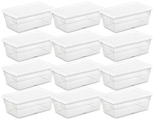 Sterilite 16428012 6 Quart/5.7 Liter Storage Box, White Lid with Clear Base (Pack of 12) (Clear Handle Lid)