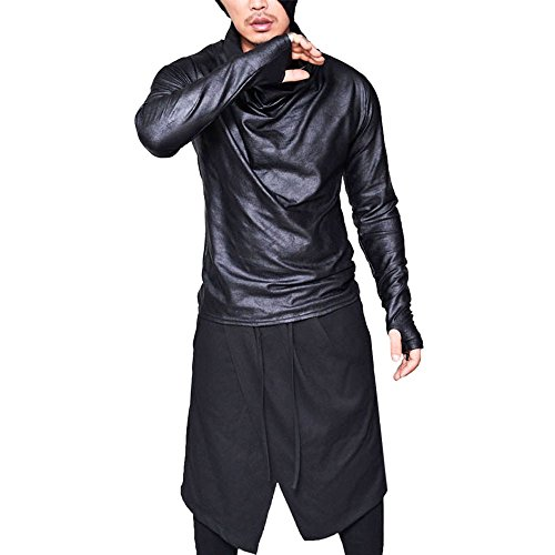 HYIRI 2018 promotionNEW Fansion Men Slim Fit Heap Collar Long Sleeve Muscle Tee T-shirt Casual Tops Blouse from HYIRI