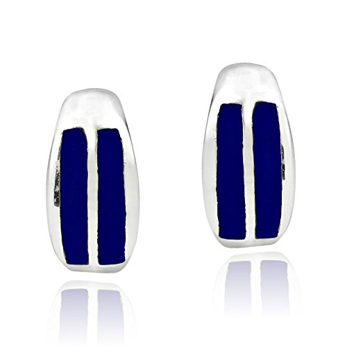 (Touch of Simulated Blue Lapis-Lazuli Inlay .925 Sterling Silver Post Earrings)