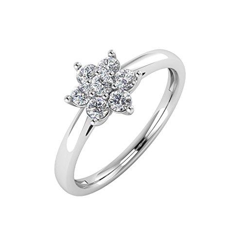 IGI Certified 14K White Gold Flower Shaped Cluster Diamond Ring Band ( 1/4 (1/4 Carat Diamond Cluster Ring)