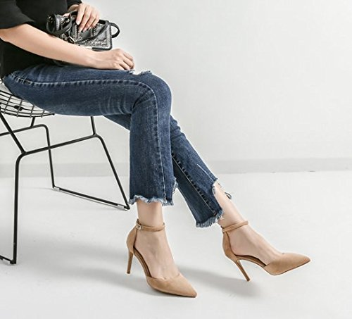 Fine All 34 Heels Shoes Pointed Buckle Elegant Spring Match Work A Nude Sexy With A MDRW 8Cm Cuff Leisure Lady 4q77HwP
