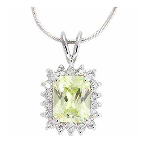 Glitzs Jewels Sterling Silver SuMMer Green & Square Pendant/Slide
