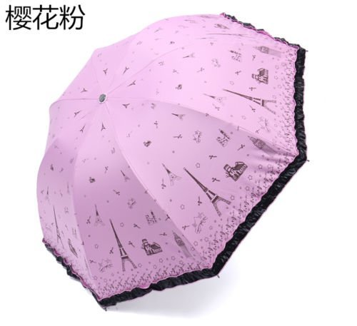 Pink Windproof Anti-Uv Folding Rain Umbrella Korean Lacework Princess Parasol by Umbrella Compact
