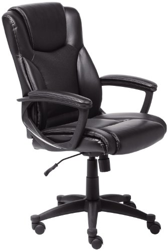 Serta Bonded Leather Executive Chair, Black